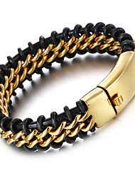 Kalen® New Retro Leather Bracelet Fashion 316 Stainless Steel 18k Dubai Gold Plated Charm Bracelet Men's Jewelry Gifts