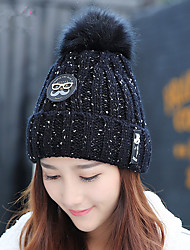 Fashion Winter New Glasses Plush Ball Warm Wool Hat Ms. Sets Of Knitted Hat