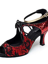 Chaussures de danse(Noir / Rouge / Argent) -Personnalisables-Talon Bottier-Similicuir-Latine / Jazz / Baskets de Danse / Moderne