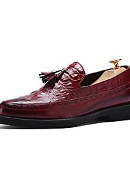 Men's Loafers & Slip-Ons Spring Summer Fall Winter Comfort Formal Shoes PU Casual Low Heel Tassel Black Red Dark Brown