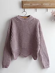 Damen Standard Pullover-Lässig/Alltäglich Einfach Solide Lila Rundhalsausschnitt Langarm Baumwolle Frühling Herbst Mittel Mikro-elastisch