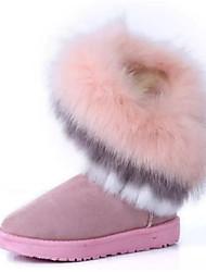 Women's Boots Winter Comfort Fur Casual Flat Heel Black Brown Green Pink