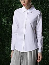 Feminino Camisa Social Formal / Trabalho / Festa/Coquetel Simples / Moda de Rua / Sofisticado Todas as Estações,Sólido Branco Algodão