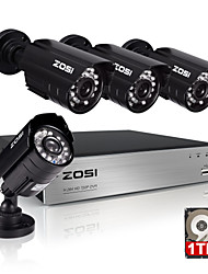 ZOSI®4CH 720P DVR CCTV Outdoor IR Home Security Camera System with 1TB Hard Drive
