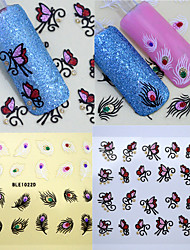 2pcs/lot Feather Butterfly Nail Stickers