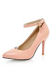 Women's Heels Spring Summer Fall Ankle Strap PU Wedding Dress Party & Evening Stiletto Heel Bowknot White Black Red Blushing Pink Walking
