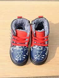 Boys' Boots Comfort PU Winter Outdoor Casual Snow Boots Flat Heel Red Blue Flat