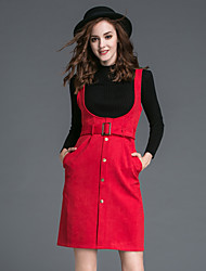 Women's Casual/Daily Simple Skirt Suits,Solid Turtleneck Long Sleeve Red / Brown Polyester