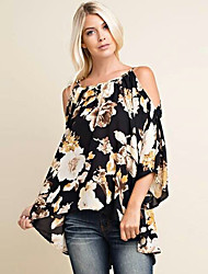 Women's Casual / Going out / Casual/Daily Sexy / Vintage / Street chic Spring / Summer Shirt,Floral / Print Strap ½ Length Sleeve Black