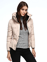 Women's Regular Padded Coat,Simple Going out / Casual/Daily Solid-Polyester Polypropylene Long Sleeve Hooded Red / White / Beige / Brown