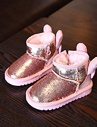 Girl's Baby Boots Winter Comfort Polyester Casual Flat Heel Sequin Black Pink Red Others