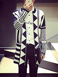 Men's Going out Casual/Daily Holiday Vintage Simple Long Cardigan,Color Block White Black Round Neck Long Sleeve Cotton Fall Winter Medium