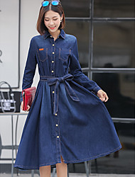 Women's Going out / Casual/Daily / Holiday Simple / Cute / Street chic Denim Dress,Solid V Neck Knee-length Long Sleeve Blue Polyester