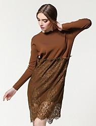Lace Robe Femme Sortie / Décontracté / Quotidien simple / Mignon,Couleur Pleine Col Arrondi Mi-long Manches Longues Noir / Marron / Gris