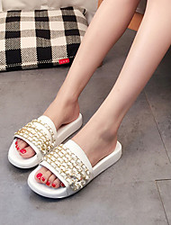 Women's Slippers & Flip-Flops Summer Slingback Pigskin Casual Flat Heel Chain Black White Burgundy Others