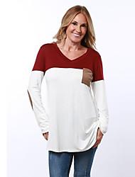 Damen Einfarbig Einfach / Street Schick Ausgehen / Lässig/Alltäglich T-shirt,V-Ausschnitt Frühling / Herbst Langarm Blau / Rot Polyester