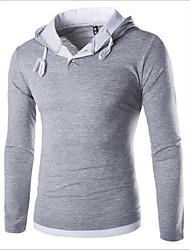 Herren Einfarbig Einfach / Aktiv Lässig/Alltäglich / Sport T-shirt,Mit Kapuze Frühling / Herbst Langarm Blau / Rot / Schwarz / Grau