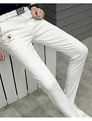 Hommes Droite Chino Pantalon,simple / Street Chic Sortie / Décontracté / Quotidien / Soirée / Cocktail Couleur Pleine Taille Normale