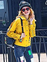 Feminino Jaqueta Informal / Casual estilo antigo / Fofo Outono / Inverno,Sólido Amarelo Algodão Colarinho de Camisa-Manga Longa