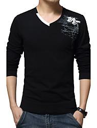 Tee-shirt Hommes,Lettre Décontracté / Quotidien / Grandes Tailles simple Printemps / Automne Manches Longues Col en V Bleu / Blanc / Noir