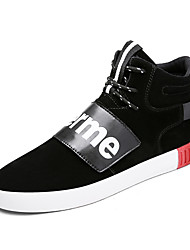 Men's Sneakers Comfort Suede Shoes Outdoor High Top Shoes Casual Sports Shoes Flat Heel Lace-up Black / Gray