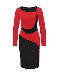 Women's Sexy Color Block Round Neck Knee-length Long Sleeve Fall Winter Bodycon Dress