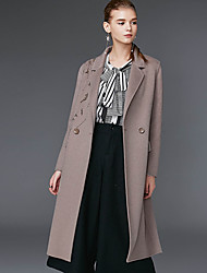 Xuanyan Women's Casual/Daily Simple CoatSolid Notch Lapel Long Sleeve Winter Gray Wool / Polyester