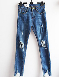 Women's Bootcut Jeans Pants,Casual/Daily Simple Solid Mid Rise Zipper Cotton Micro-elastic All Seasons