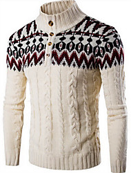 Men's Casual/Daily Simple Regular Pullover,Color Block Beige Black Gray Multi-color Stand Long Sleeve Wool Fall Winter Medium