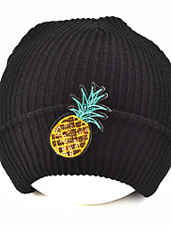 College Wind Winter Fruit Pineapple Pattern Sequins Patch Knitted Wool Autumn Winter Cap