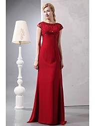Sheath / Column Mother of the Bride Dress - Elegant Sweep / Brush Train Short Sleeve Chiffon with Beading
