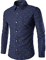 Men's Casual/Daily Simple Shirt,Striped Square Neck Long Sleeve Blue Cotton