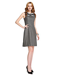 TS Couture Cocktail Party Prom Dress - Ivanka Style Celebrity Style A-line Jewel Short / Mini Jersey with Bow(s) Lace