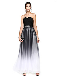 2017 TS Couture® Formal Evening Dress - Color Gradient A-line Notched Floor-length Chiffon with Beading / Sash / Ribbon / Draping / Criss Cross