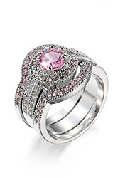 Ring AAA Cubic Zirconia Zircon Cubic Zirconia Alloy Pink Jewelry Wedding Casual 1pc