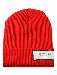 Autumn Winter Patch Embroidery Solid Warm Men Women Hooded Wool Caps