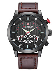 Men's Sport Watch / Dress Watch Quartz Water Resistant/Water Proof / Noctilucent Leather Band Casual Black / White Brand