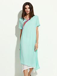 Ample Robe Femme Décontracté / Quotidien Chinoiserie,Mosaïque Asymétrique Asymétrique Manches Courtes Vert Jaune Rayonne EtéTaille