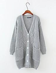 Damen Standard Strickjacke-Ausgehen Lässig/Alltäglich Einfach Niedlich Solide Rosa Grau Tiefes V Langarm Baumwolle KunstseideHerbst