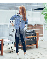 Women's Beach Sexy Denim Jackets,Solid Long Sleeve Blue Cotton