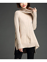 Women's Going out / Casual/Daily Simple Long Pullover,Solid Red / Beige / Black / Green Turtleneck Long Sleeve Polyester / NylonFall /