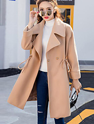 Women's Going out Street chic / Sophisticated Trench Coat,Solid Shirt Collar Long Sleeve All Seasons Multi-color Cotton Medium