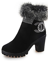 Women's Boots Winter Platform Leather Fur Casual Chunky Heel Black Walking