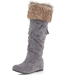 Women's Boots Spring / Fall / Winter Gladiator Fur Party & Evening / Dress / Casual Flat Heel Black / Gray
