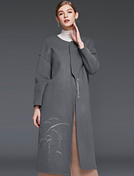 Damen Druck Einfach Lässig/Alltäglich Mantel,Winter Rundhalsausschnitt Langarm Beige / Grau Wolle