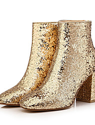 Women's Boots Winter Other Glitter Dress Casual Party & Evening Chunky Heel Sparkling Glitter Zipper Black Gold