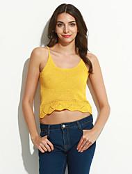 Women's Solid Red / White / Black / Yellow Vest,Street chic Sleeveless