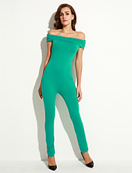Women's Green Form Fitting Off Shoulder Jumpsuit