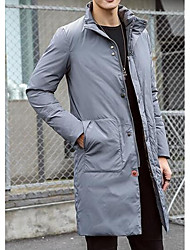 Men's Long Down Coat,Simple Casual/Daily Solid-Cotton White Duck Down Long Sleeve Stand Gray
