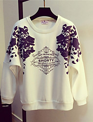 Women's Going out /Cute Regular Hoodies,Print White / Black Round Neck Long Sleeve Cotton Spring / Fall Medium